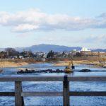 嵐山の渡月橋、川下は現在工事中。